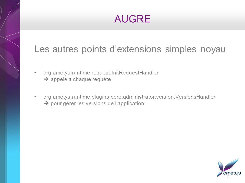 AUGRE Les autres points dextensions simples noyau org.ametys.runtime.request.InitRequestHandler appelé à chaque requête org.ametys.runtime.plugins.cor