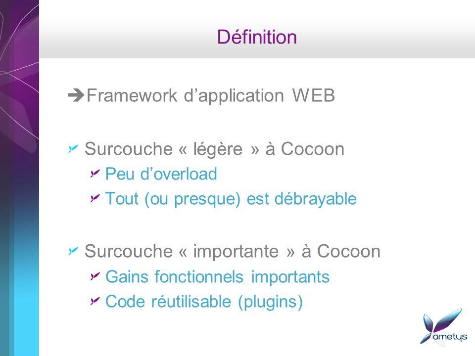 Définition Framework dapplication WEB Surcouche « légère » à Cocoon Peu doverload Tout (ou presque) est débrayable Surcouche « importante » à Cocoon Gains fonctionnels importants Code réutilisable (plugins)