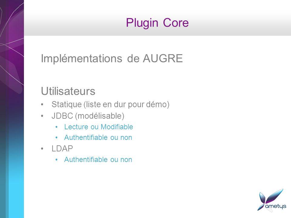 Plugin Core Implémentations de AUGRE Utilisateurs Statique (liste en dur pour démo) JDBC (modélisable) Lecture ou Modifiable Authentifiable ou non LDAP Authentifiable ou non