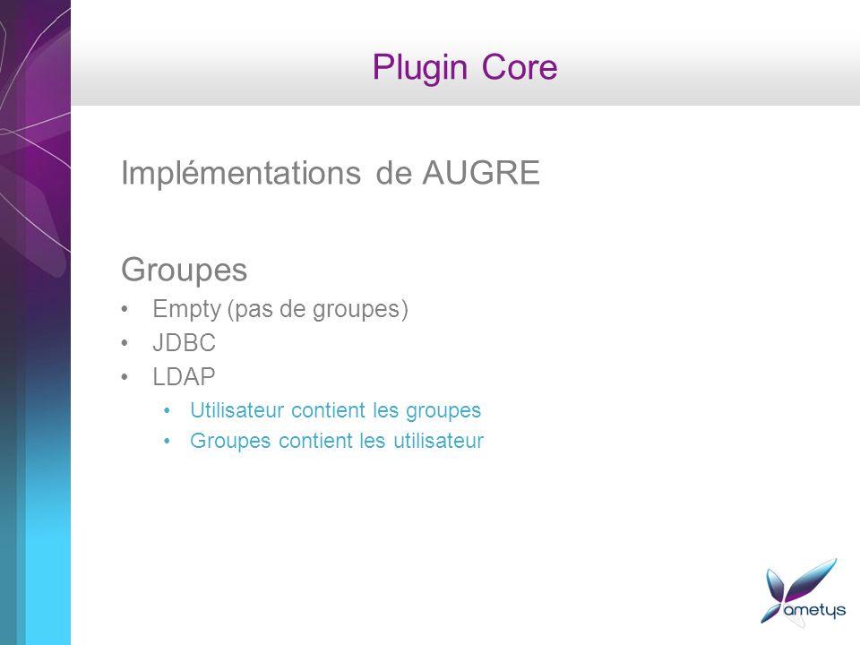 Plugin Core Implémentations de AUGRE Groupes Empty (pas de groupes) JDBC LDAP Utilisateur contient les groupes Groupes contient les utilisateur