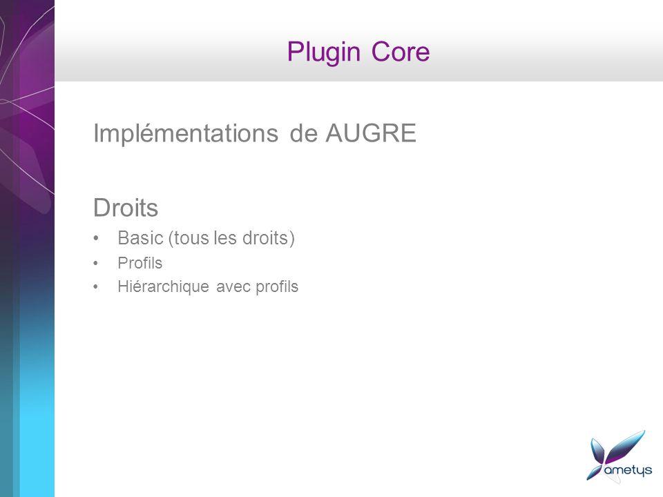 Plugin Core Implémentations de AUGRE Droits Basic (tous les droits) Profils Hiérarchique avec profils