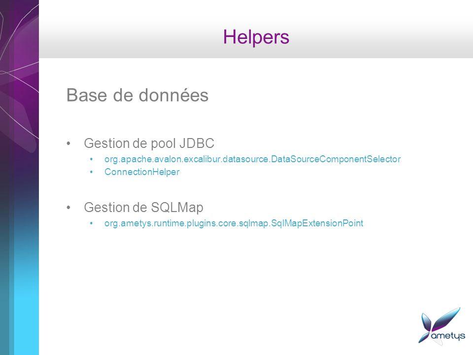 Helpers Base de données Gestion de pool JDBC org.apache.avalon.excalibur.datasource.DataSourceComponentSelector ConnectionHelper Gestion de SQLMap org.ametys.runtime.plugins.core.sqlmap.SqlMapExtensionPoint