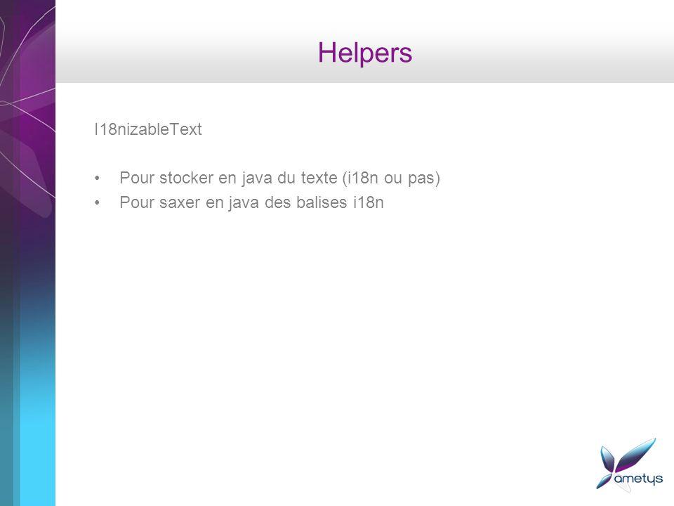 Helpers I18nizableText Pour stocker en java du texte (i18n ou pas) Pour saxer en java des balises i18n