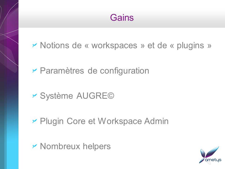 Gains Notions de « workspaces » et de « plugins » Paramètres de configuration Système AUGRE© Plugin Core et Workspace Admin Nombreux helpers