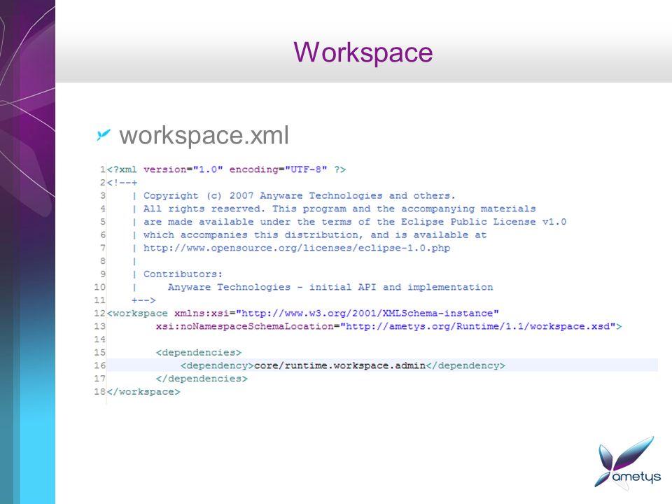 Workspace Admin Workspace administrateur Espace authentifié pour ladministreur Configuration Journaux Etat du système Plugins … exemple