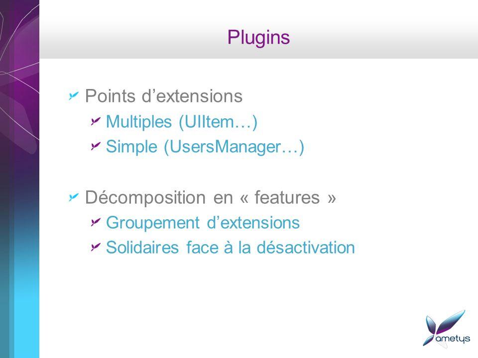 Plugins Points dextensions Multiples (UIItem…) Simple (UsersManager…) Décomposition en « features » Groupement dextensions Solidaires face à la désact