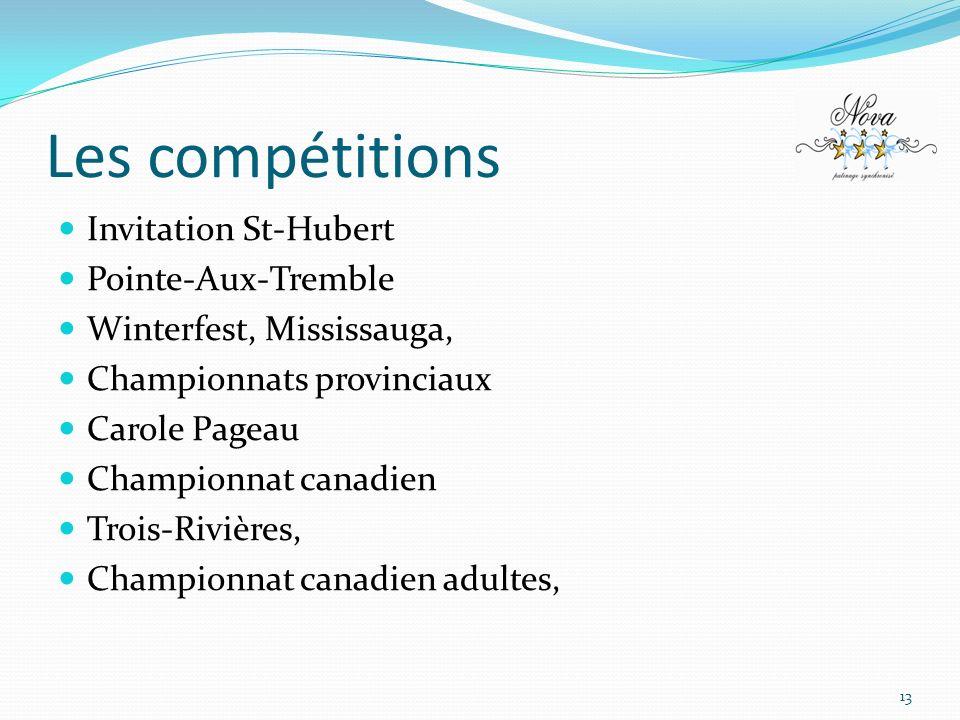 Les compétitions Invitation St-Hubert Pointe-Aux-Tremble Winterfest, Mississauga, Championnats provinciaux Carole Pageau Championnat canadien Trois-Ri