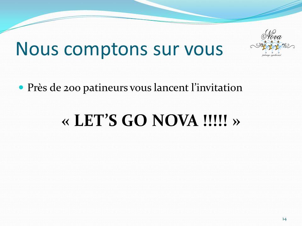 Nous comptons sur vous Près de 200 patineurs vous lancent linvitation « LETS GO NOVA !!!!! » 14
