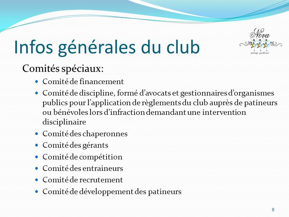 Infos générales du club 8 Comités spéciaux: Comité de financement Comité de discipline, formé davocats et gestionnaires dorganismes publics pour lappl