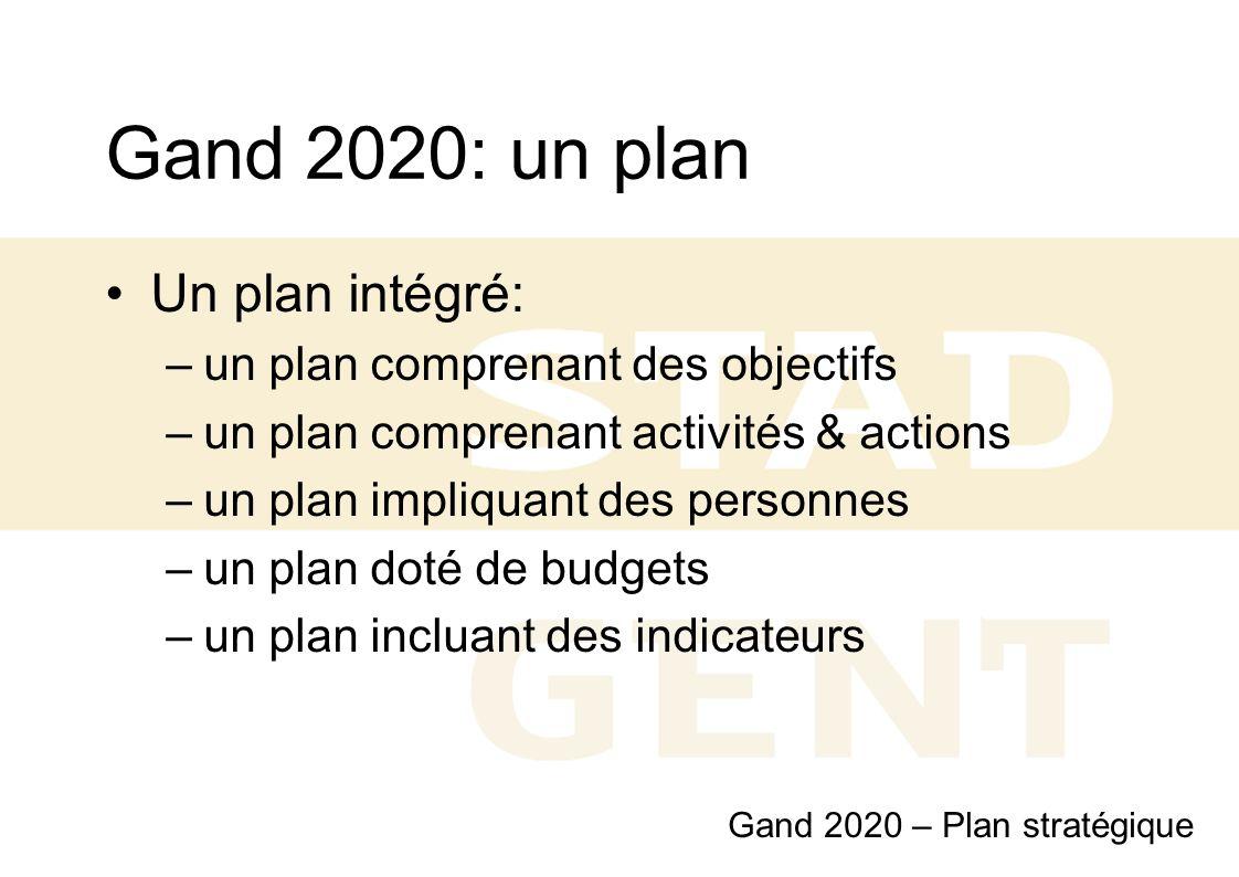 Gand 2020: un plan Un plan intégré: –un plan comprenant des objectifs –un plan comprenant activités & actions –un plan impliquant des personnes –un pl