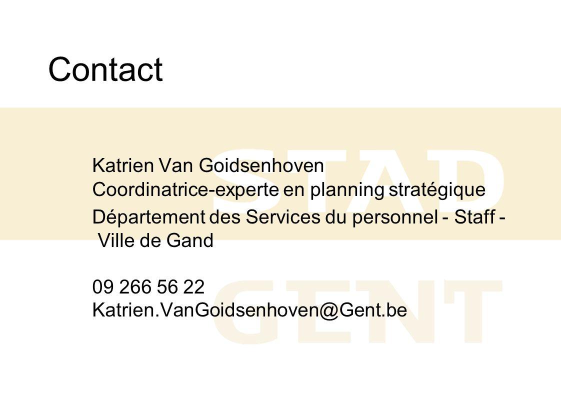 Contact Katrien Van Goidsenhoven Coordinatrice-experte en planning stratégique Département des Services du personnel - Staff - Ville de Gand 09 266 56