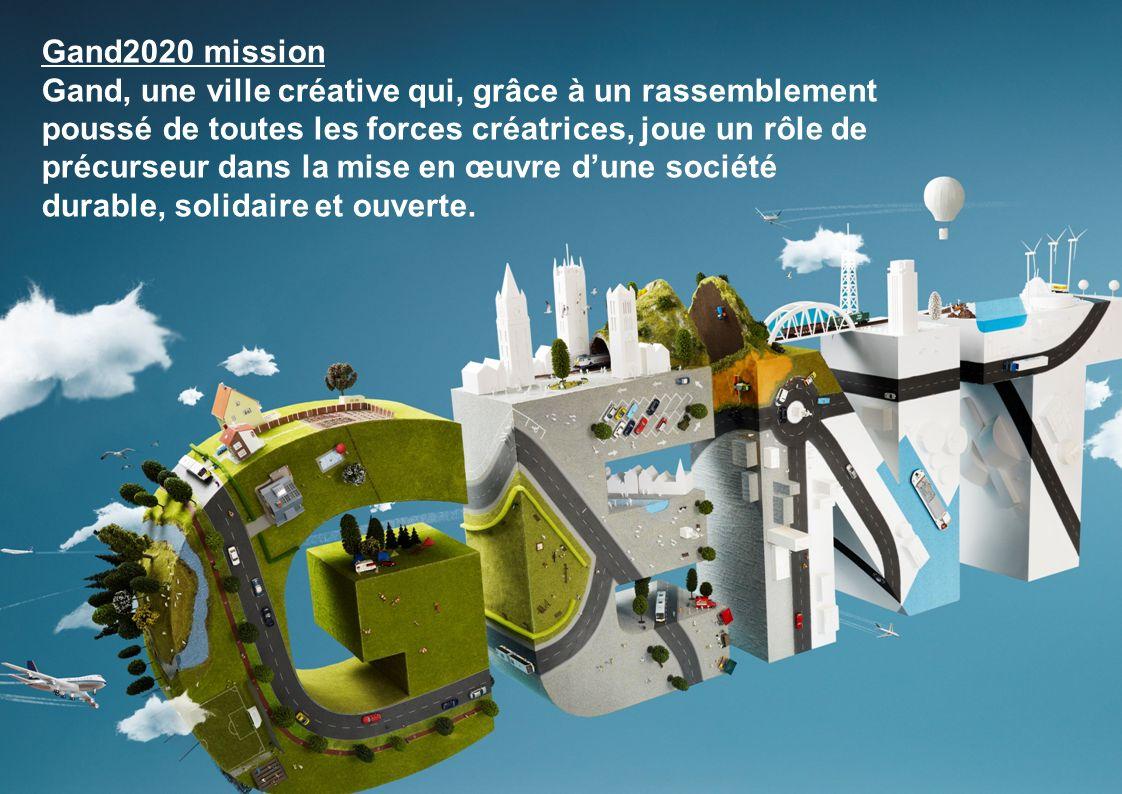 5 voies pour Gand 2020 Connaissance, innovation et créativité Durabilité sociale Durabilité économique Durabilité spatiale et écologique Communication et participation Gand 2020