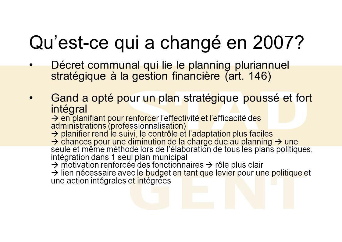Quest-ce qui a changé en 2007? Décret communal qui lie le planning pluriannuel stratégique à la gestion financière (art. 146) Gand a opté pour un plan