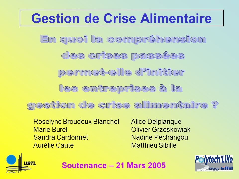 Gestion de Crise Alimentaire Roselyne Broudoux Blanchet Marie Burel Sandra Cardonnet Aurélie Caute Soutenance – 21 Mars 2005 Alice Delplanque Olivier