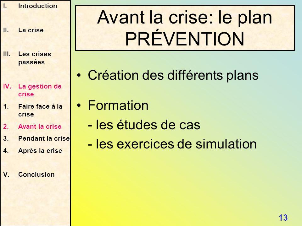 Avant la crise: le plan PRÉVENTION 13 I.Introduction II.La crise III.Les crises passées IV.La gestion de crise 1. Faire face à la crise 2.Avant la cri