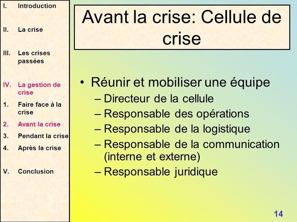 Réunir et mobiliser une équipe –Directeur de la cellule –Responsable des opérations –Responsable de la logistique –Responsable de la communication (in