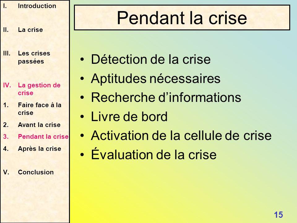 Détection de la crise Aptitudes nécessaires Recherche dinformations Livre de bord Activation de la cellule de crise Évaluation de la crise I.Introduct