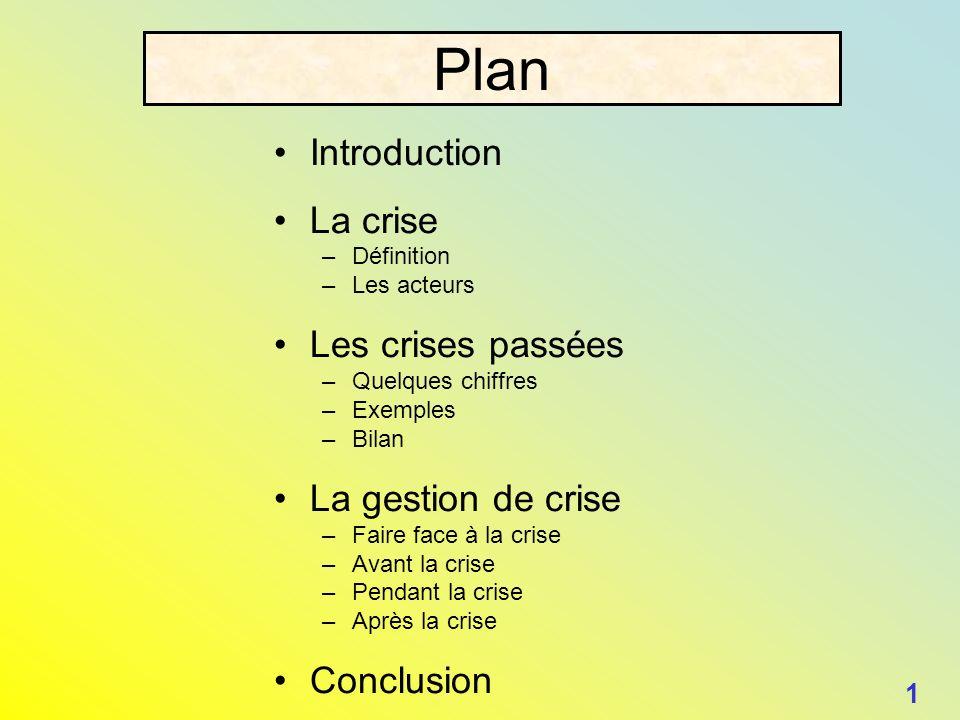 Plan Introduction La crise –Définition –Les acteurs Les crises passées –Quelques chiffres –Exemples –Bilan La gestion de crise –Faire face à la crise
