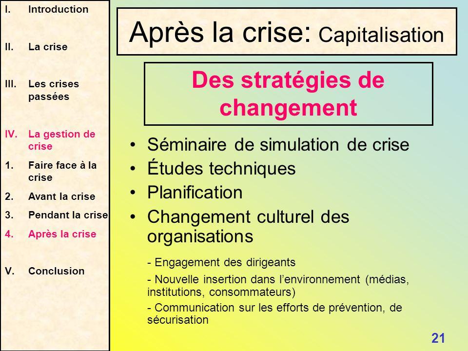 Séminaire de simulation de crise Études techniques Planification Changement culturel des organisations - Engagement des dirigeants - Nouvelle insertio