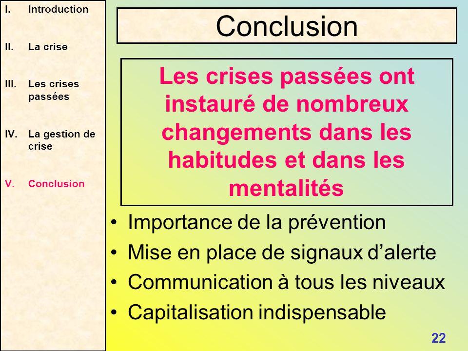 Les crises passées ont instauré de nombreux changements dans les habitudes et dans les mentalités I.Introduction II.La crise III.Les crises passées IV