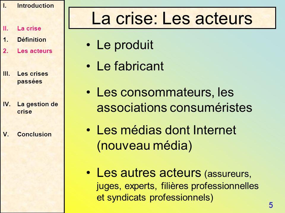 Les médias dont Internet (nouveau média) I.Introduction II.La crise 1. Définition 2.Les acteurs III.Les crises passées IV.La gestion de crise V.Conclu