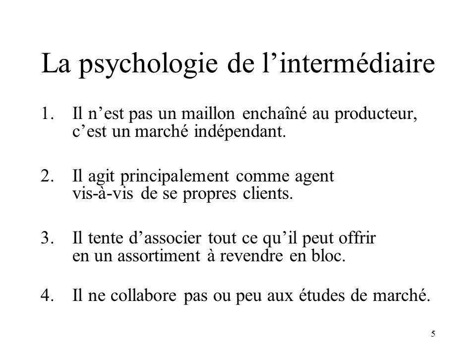 5 La psychologie de lintermédiaire 1.Il nest pas un maillon enchaîné au producteur, cest un marché indépendant. 2.Il agit principalement comme agent v