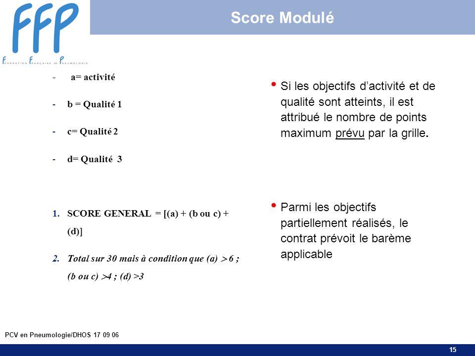 15 PCV en Pneumologie/DHOS 17 09 06 Score Modulé - a= activité -b = Qualité 1 -c= Qualité 2 -d= Qualité 3 1.SCORE GENERAL = [(a) + (b ou c) + (d)] 2.T