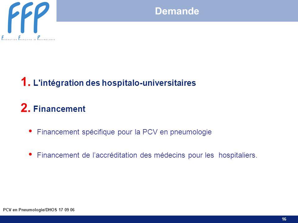 16 PCV en Pneumologie/DHOS 17 09 06 Demande 1. L'intégration des hospitalo-universitaires 2. Financement Financement spécifique pour la PCV en pneumol
