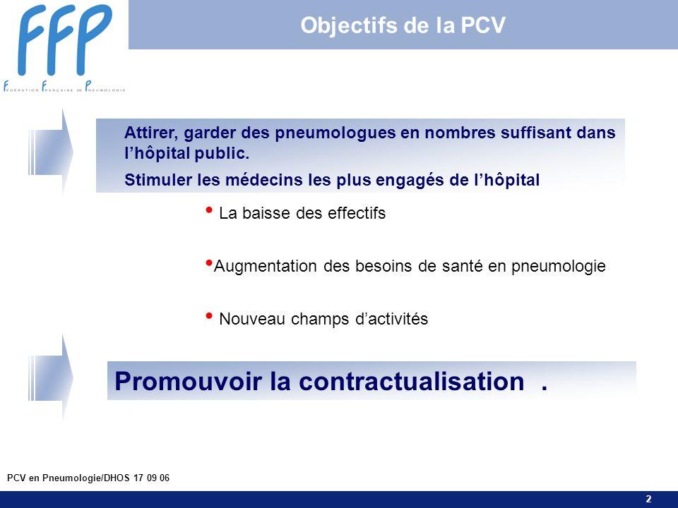 2 PCV en Pneumologie/DHOS 17 09 06 Objectifs de la PCV Attirer, garder des pneumologues en nombres suffisant dans lhôpital public. Stimuler les médeci