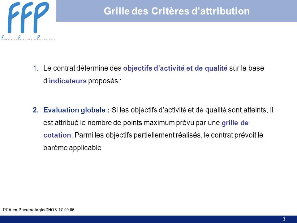 3 PCV en Pneumologie/DHOS 17 09 06 Grille des Critères dattribution 1.Le contrat détermine des objectifs dactivité et de qualité sur la base dindicate