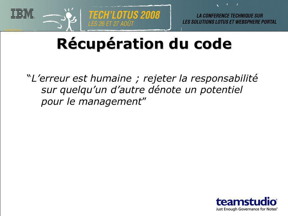 Récupération du code Lerreur est humaine ; rejeter la responsabilité sur quelquun dautre dénote un potentiel pour le management
