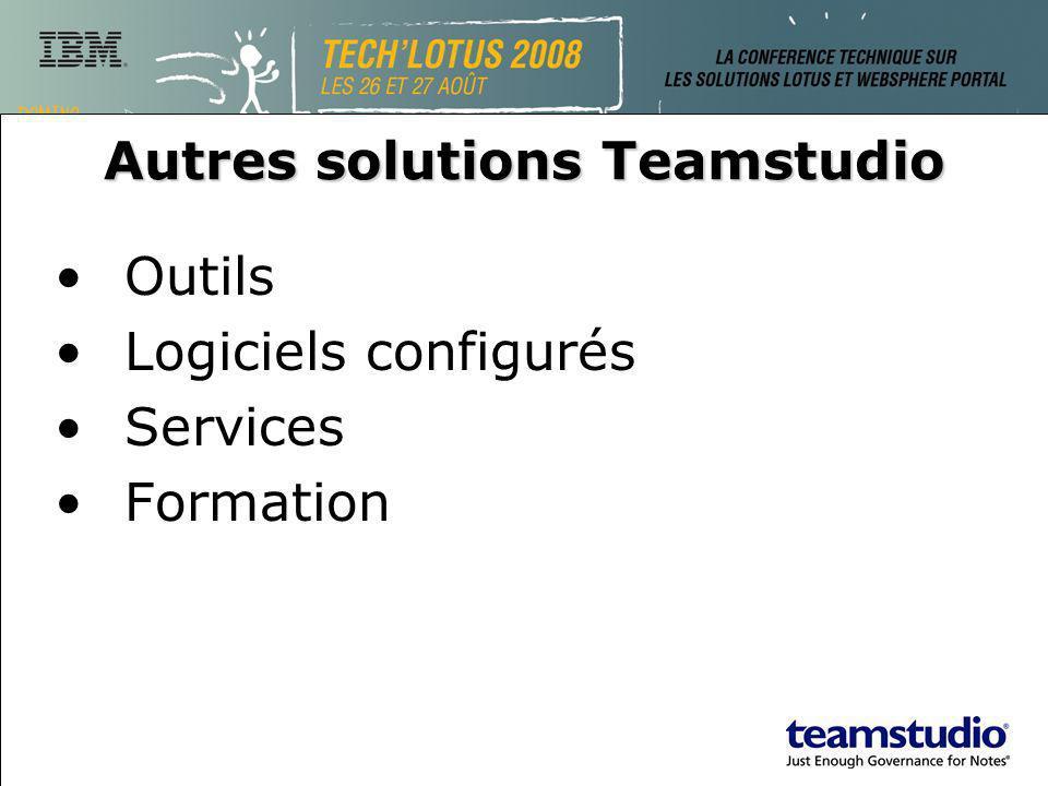 Autres solutions Teamstudio Outils Logiciels configurés Services Formation