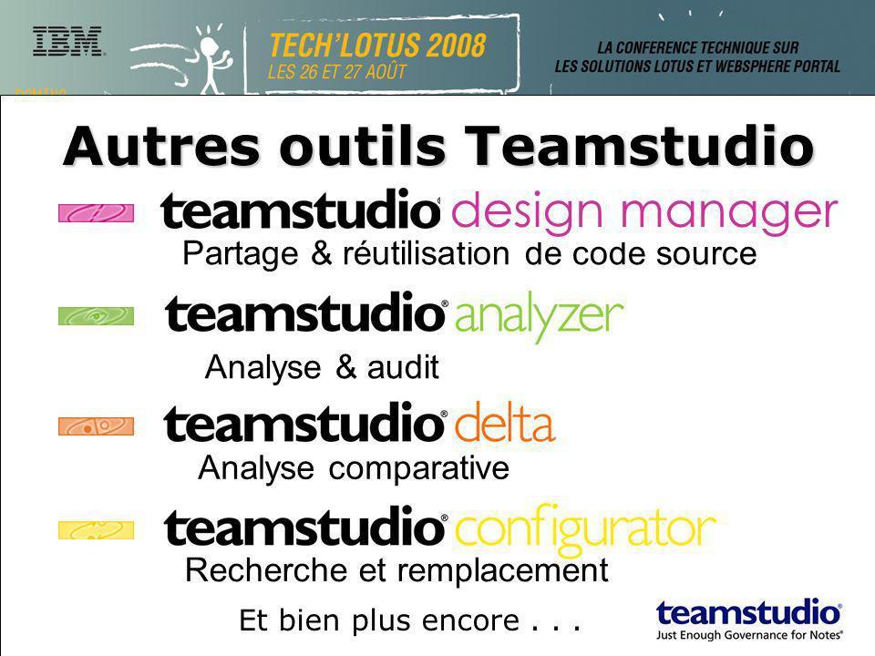 Partage & réutilisation de code source Autres outils Teamstudio Analyse & audit Analyse comparative Recherche et remplacement design manager Et bien plus encore...