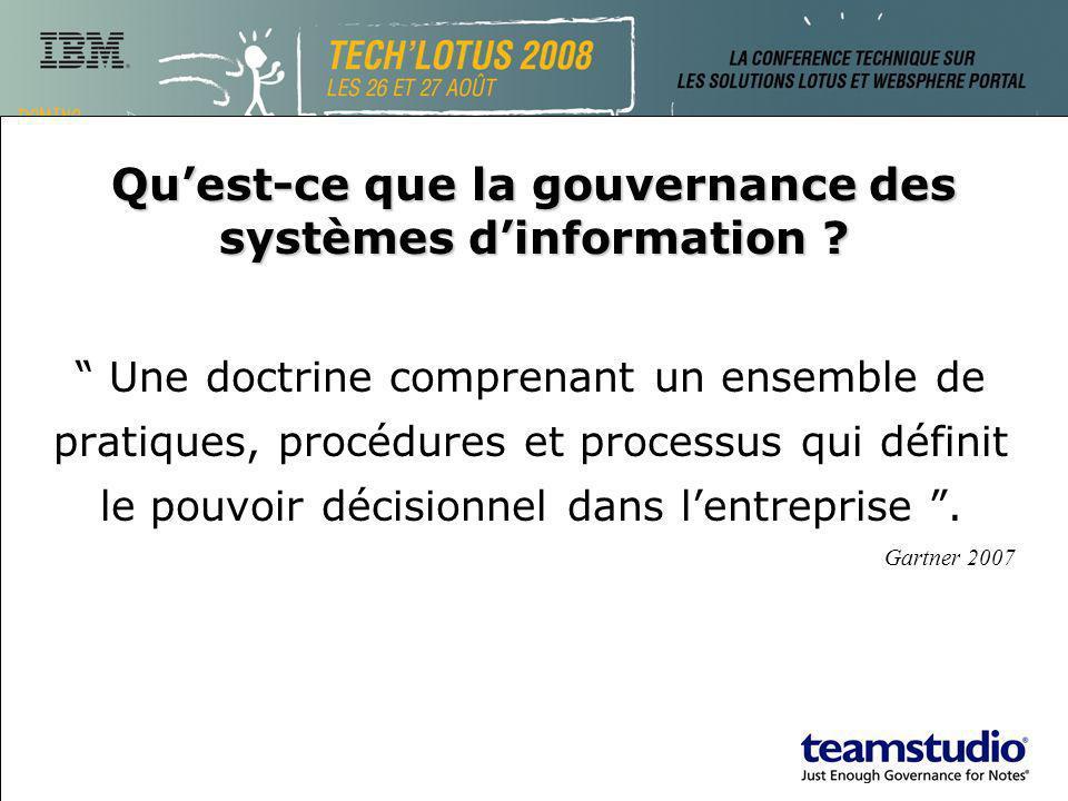 Quest-ce que la gouvernance des systèmes dinformation ? Une doctrine comprenant un ensemble de pratiques, procédures et processus qui définit le pouvo