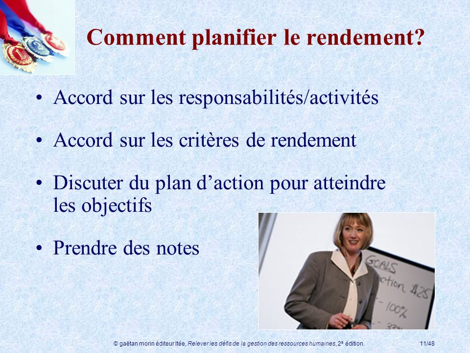 © gaëtan morin éditeur ltée, Relever les défis de la gestion des ressources humaines, 2 e édition.11/48 Comment planifier le rendement? Accord sur les