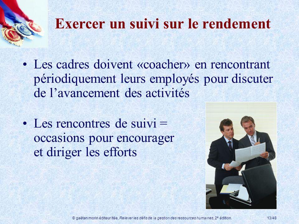 © gaëtan morin éditeur ltée, Relever les défis de la gestion des ressources humaines, 2 e édition.13/48 Exercer un suivi sur le rendement Les cadres d