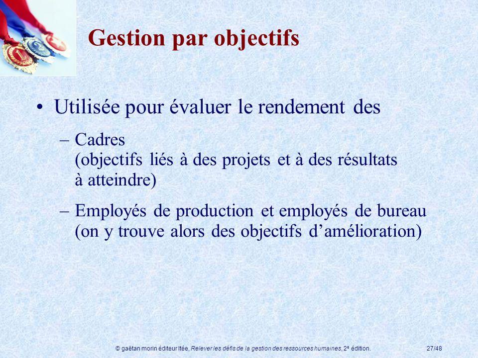 © gaëtan morin éditeur ltée, Relever les défis de la gestion des ressources humaines, 2 e édition.27/48 Gestion par objectifs Utilisée pour évaluer le