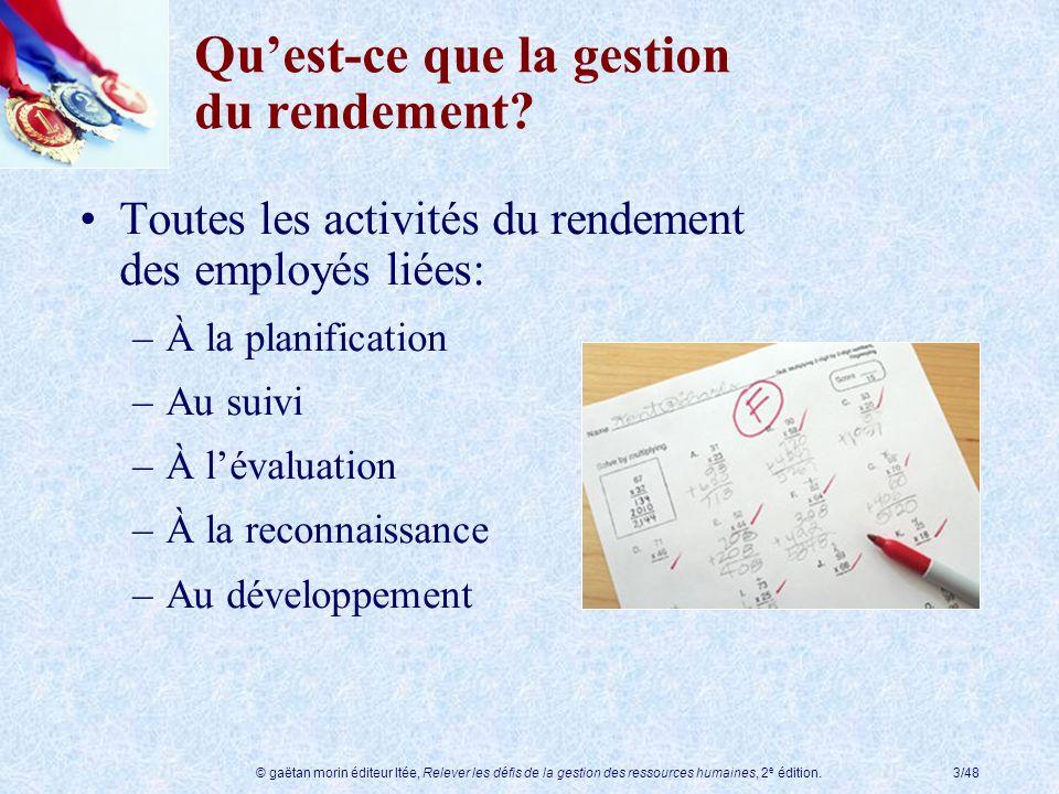 © gaëtan morin éditeur ltée, Relever les défis de la gestion des ressources humaines, 2 e édition.3/48 Quest-ce que la gestion du rendement? Toutes le