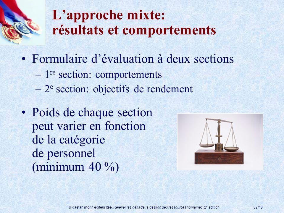 © gaëtan morin éditeur ltée, Relever les défis de la gestion des ressources humaines, 2 e édition.32/48 Lapproche mixte: résultats et comportements Fo