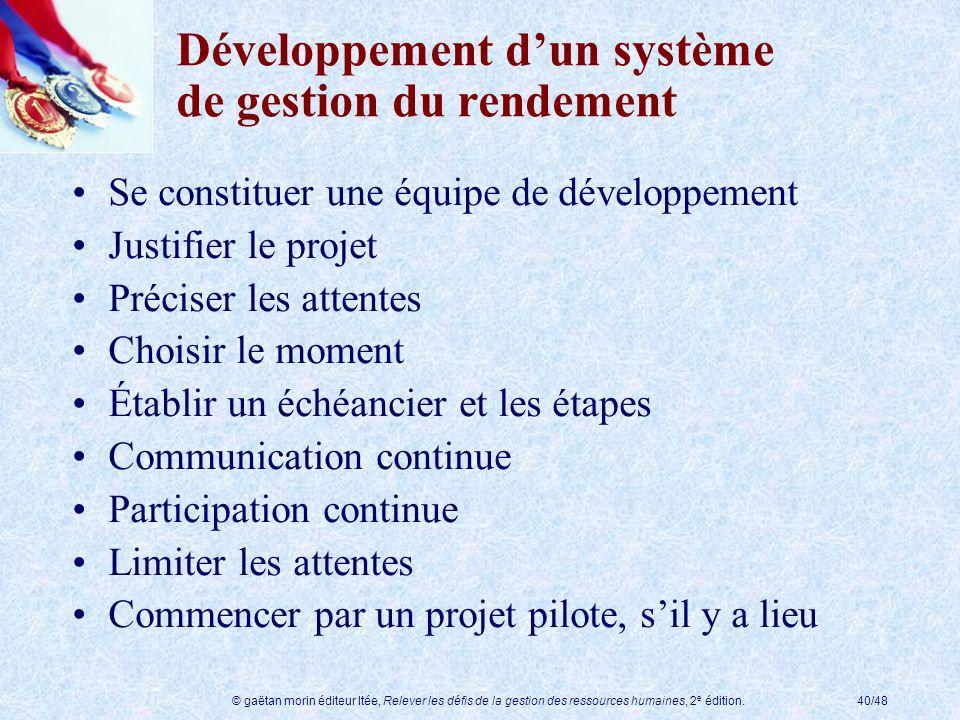 © gaëtan morin éditeur ltée, Relever les défis de la gestion des ressources humaines, 2 e édition.40/48 Développement dun système de gestion du rendem