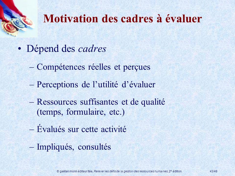© gaëtan morin éditeur ltée, Relever les défis de la gestion des ressources humaines, 2 e édition.43/48 Motivation des cadres à évaluer Dépend des cad