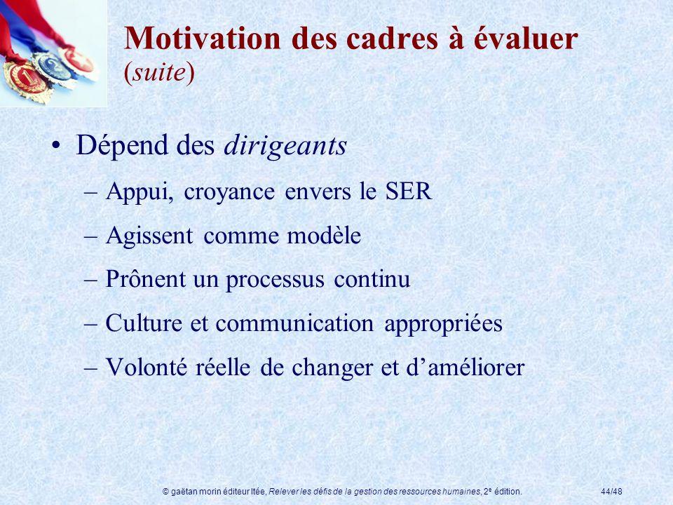 © gaëtan morin éditeur ltée, Relever les défis de la gestion des ressources humaines, 2 e édition.44/48 Motivation des cadres à évaluer (suite) Dépend
