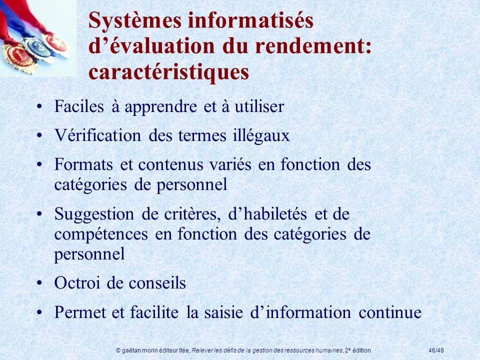 © gaëtan morin éditeur ltée, Relever les défis de la gestion des ressources humaines, 2 e édition.46/48 Systèmes informatisés dévaluation du rendement