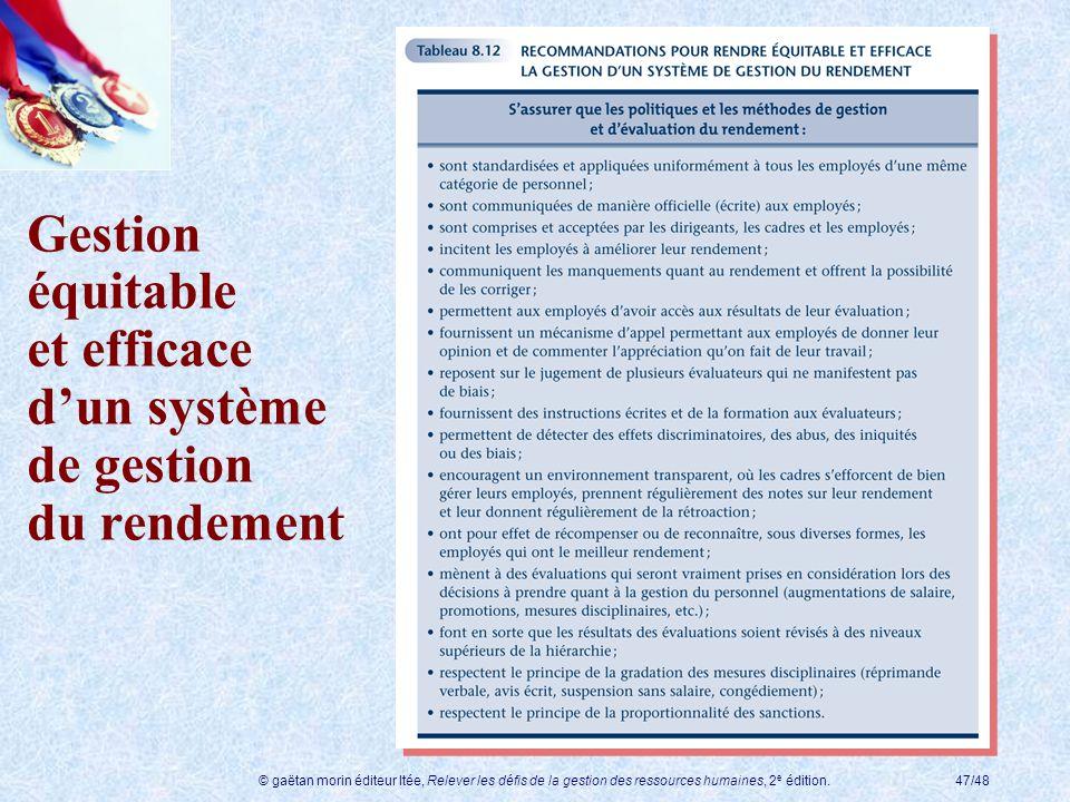 © gaëtan morin éditeur ltée, Relever les défis de la gestion des ressources humaines, 2 e édition.47/48 Gestion équitable et efficace dun système de g