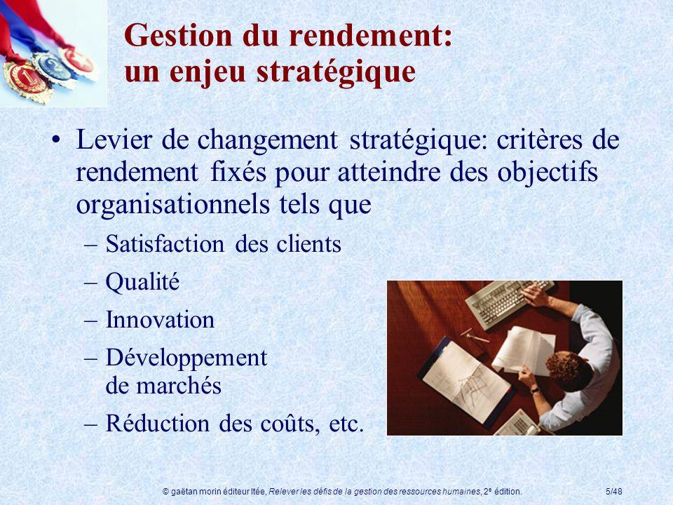 © gaëtan morin éditeur ltée, Relever les défis de la gestion des ressources humaines, 2 e édition.5/48 Gestion du rendement: un enjeu stratégique Levi