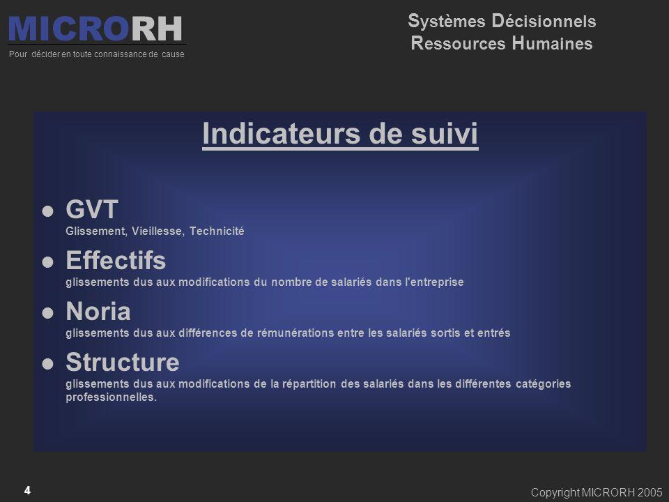 Copyright MICRORH 2005 4 Indicateurs de suivi GVT Glissement, Vieillesse, Technicité Effectifs glissements dus aux modifications du nombre de salariés
