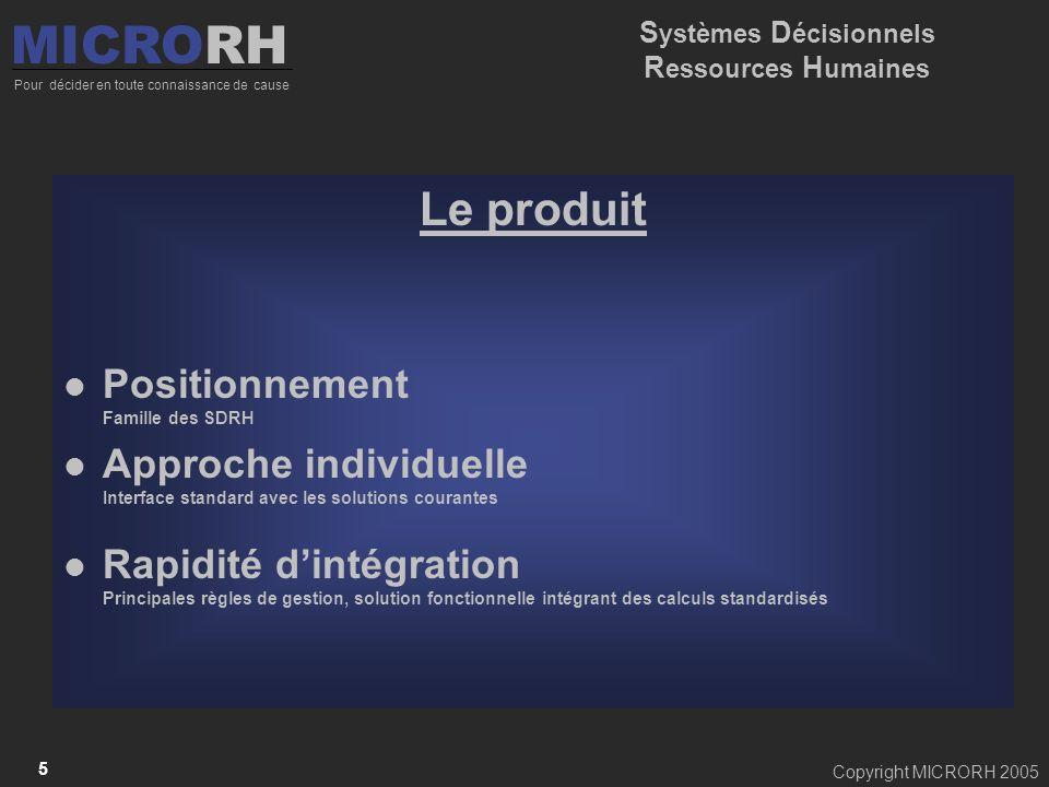 Copyright MICRORH 2005 5 Le produit Positionnement Famille des SDRH Approche individuelle Interface standard avec les solutions courantes Rapidité din