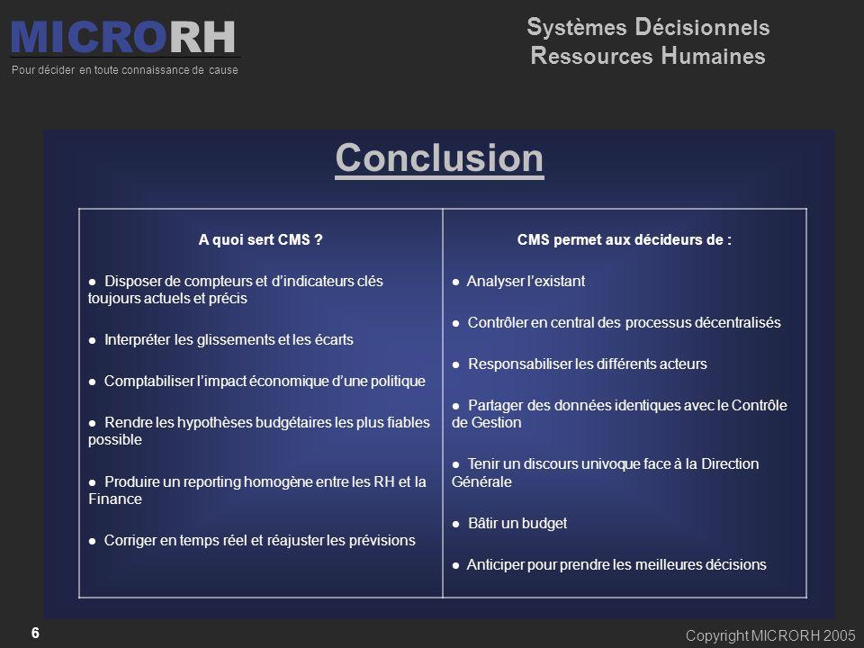 Copyright MICRORH 2005 6 Conclusion A quoi sert CMS ? Disposer de compteurs et dindicateurs clés toujours actuels et précis Interpréter les glissement