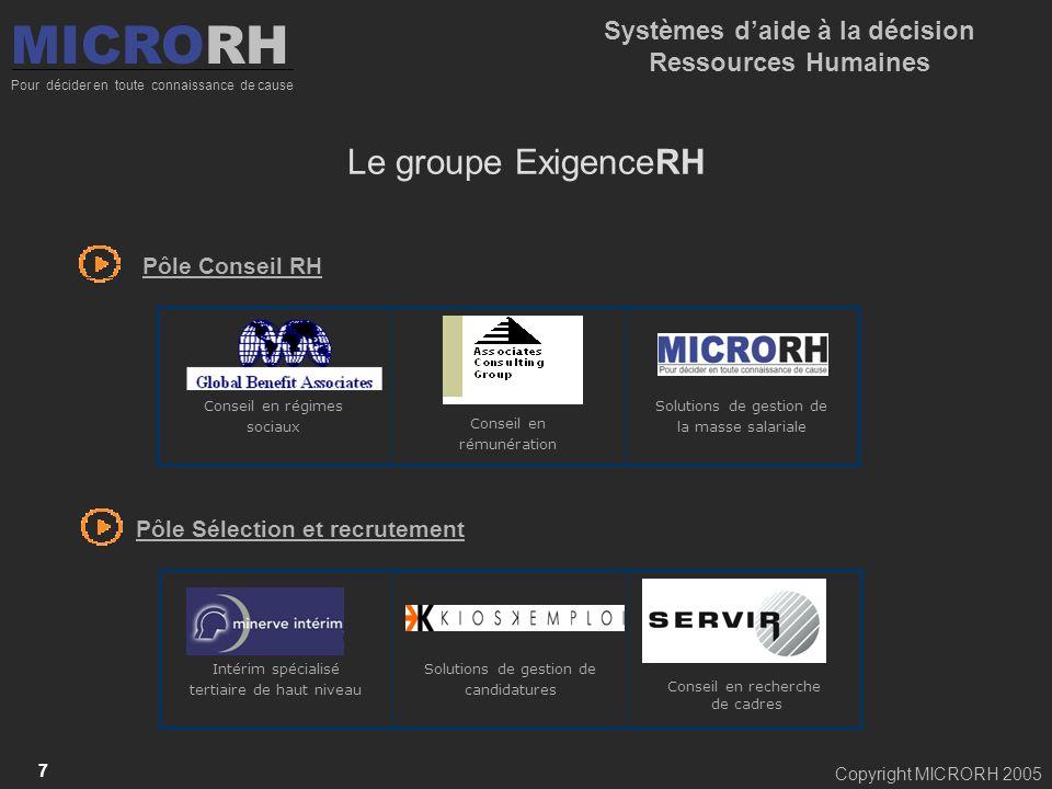 Copyright MICRORH 2005 7 MICRORH Pour décider en toute connaissance de cause Systèmes daide à la décision Ressources Humaines Pôle Conseil RH Solution