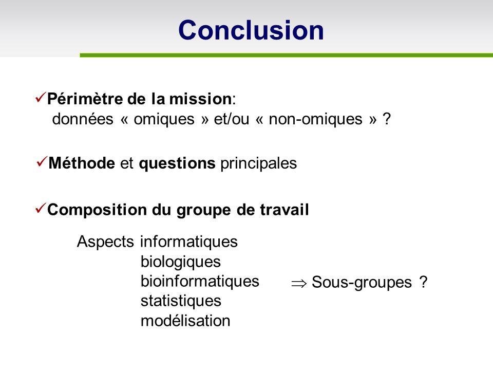 Conclusion Périmètre de la mission: données « omiques » et/ou « non-omiques » ? Composition du groupe de travail Méthode et questions principales Sous